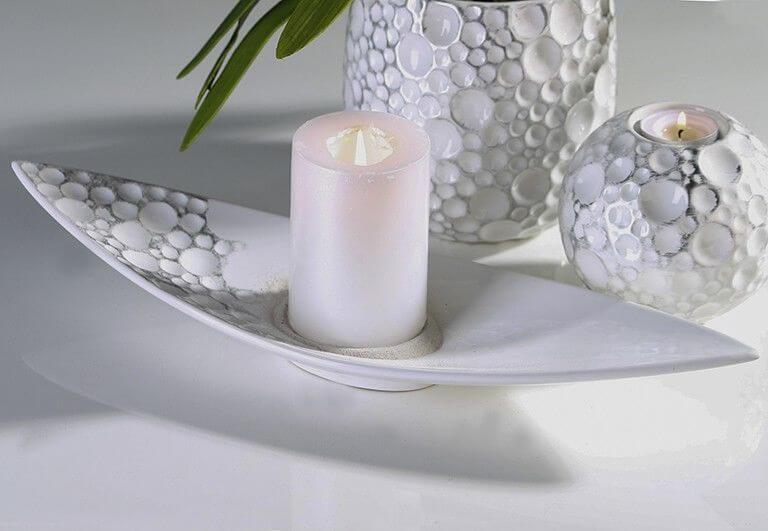 Casablanca Keramik Deko Schale Gaps in Weiß Silber Dèkoala