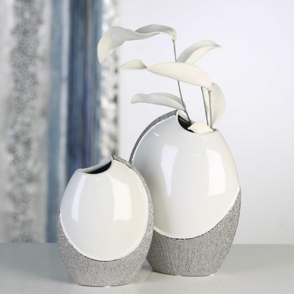 Deko Weiß Silber.Keramik Vase Prime Weiß Silber Glasiert 19cm