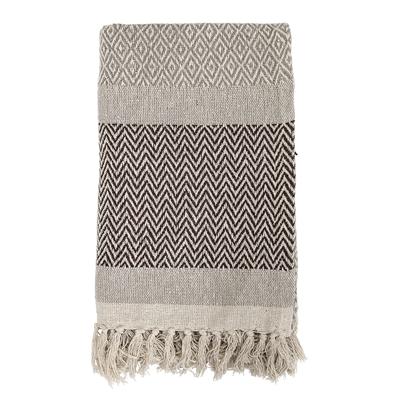 Bloomingville Decke braun weiß mit Muster bei DéKoala