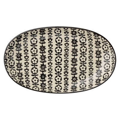 Bloomingville Servierplatte Julie mit Muster schwarz weiß bei DéKoala