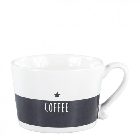 Bastion Collections BC Kaffee Tasse weiß schwarz mit Stern und Schriftzug coffee bei Dékoala