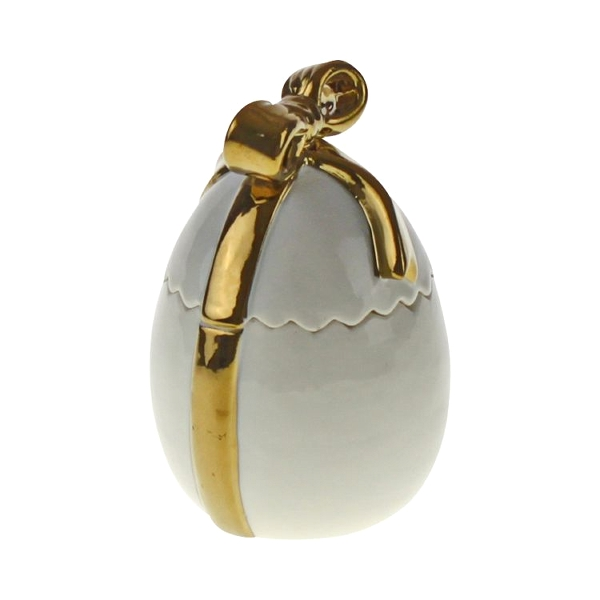 Osterdeko Deko Dose Ei weiß gold aus Keramik Porzellan