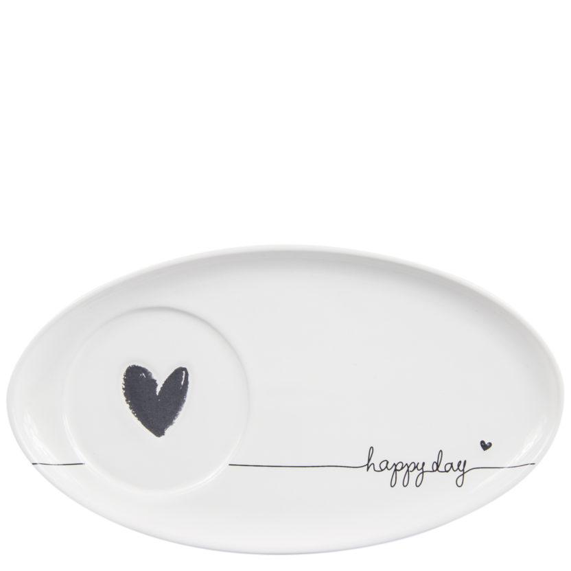 Bastion Collection Untersetzer für Tassen weiß mit Herz und Schrift happy day