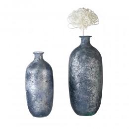 Vase Solid aus Glas Blau metallic