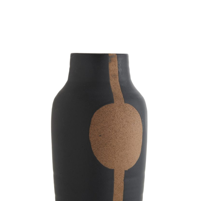 Stoneware Vase schwarz Kork von Dékoala