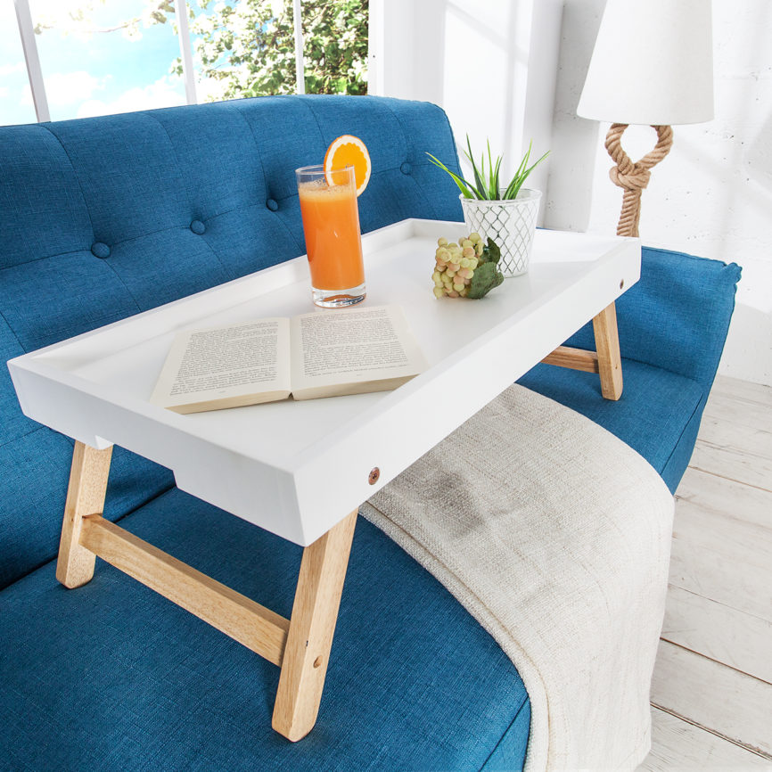 Frühstückstablett Eiche Weiß skandinavisches Design DéKoala