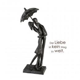 Design Skulptur mit regenschirm verliebt