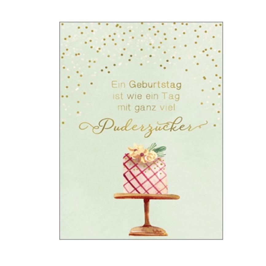 Umschlagkarte grußkarte Motivfarbe: Grün , Rosa - Pink, Silber - Gold Kartentext: Ein Geburtstag ist wie ein Tag mit ganz viel Puderzucker