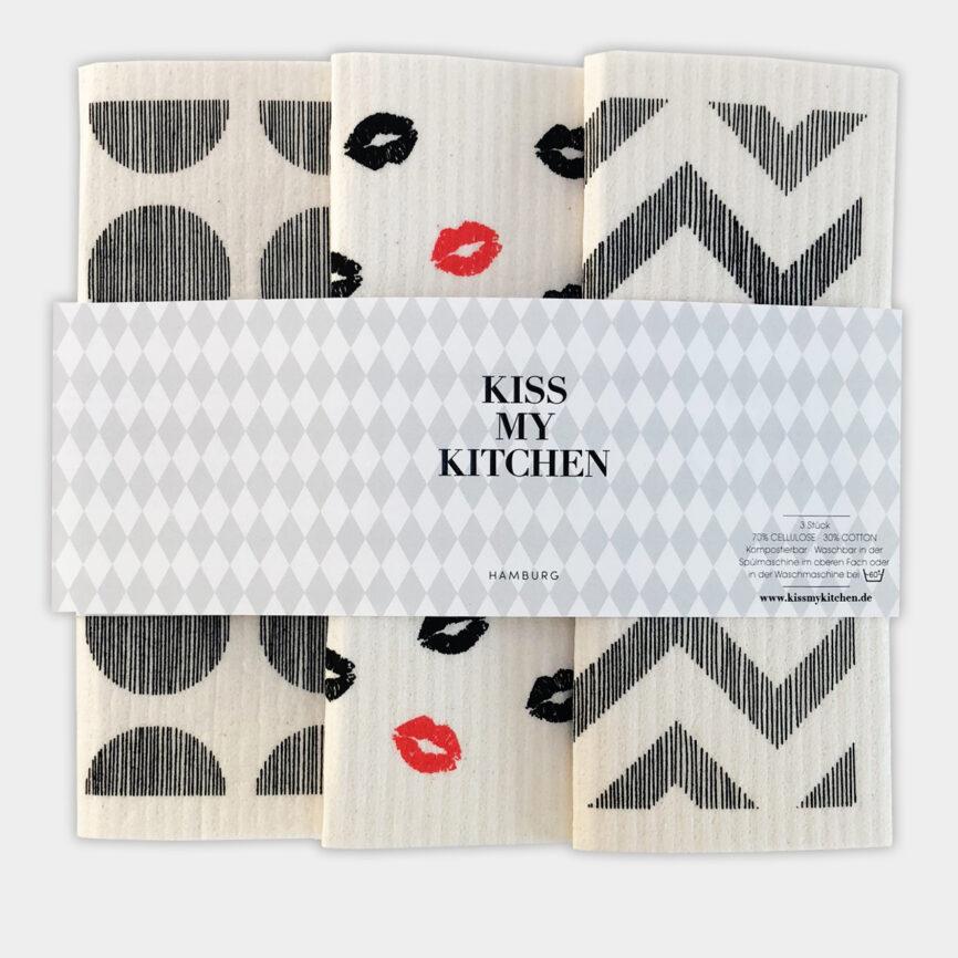 Kiss my Kitchen schwammtuch 3er set Paris