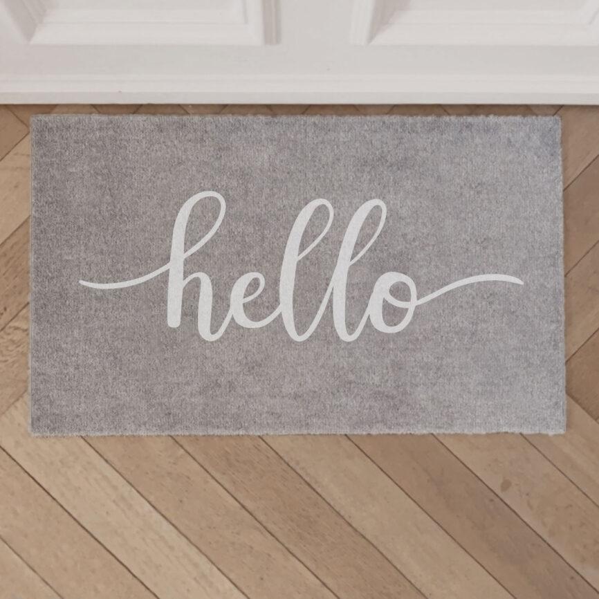 """Eulenschnitt Fußmatte """"Hello"""" Grau"""