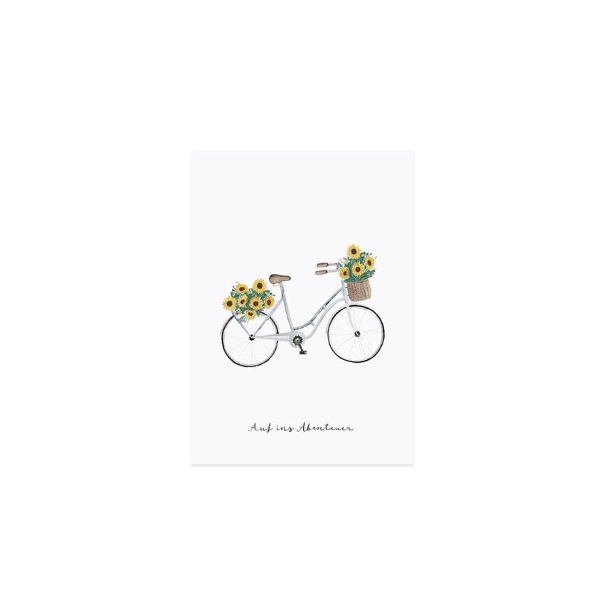 Eulenschnitt Postkarte Blumenfahrrad