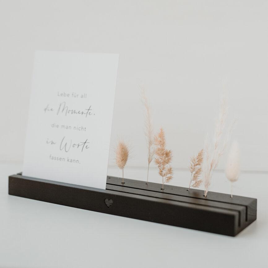 Trockenblumen und Kartenständer eulenschnitt schwarz