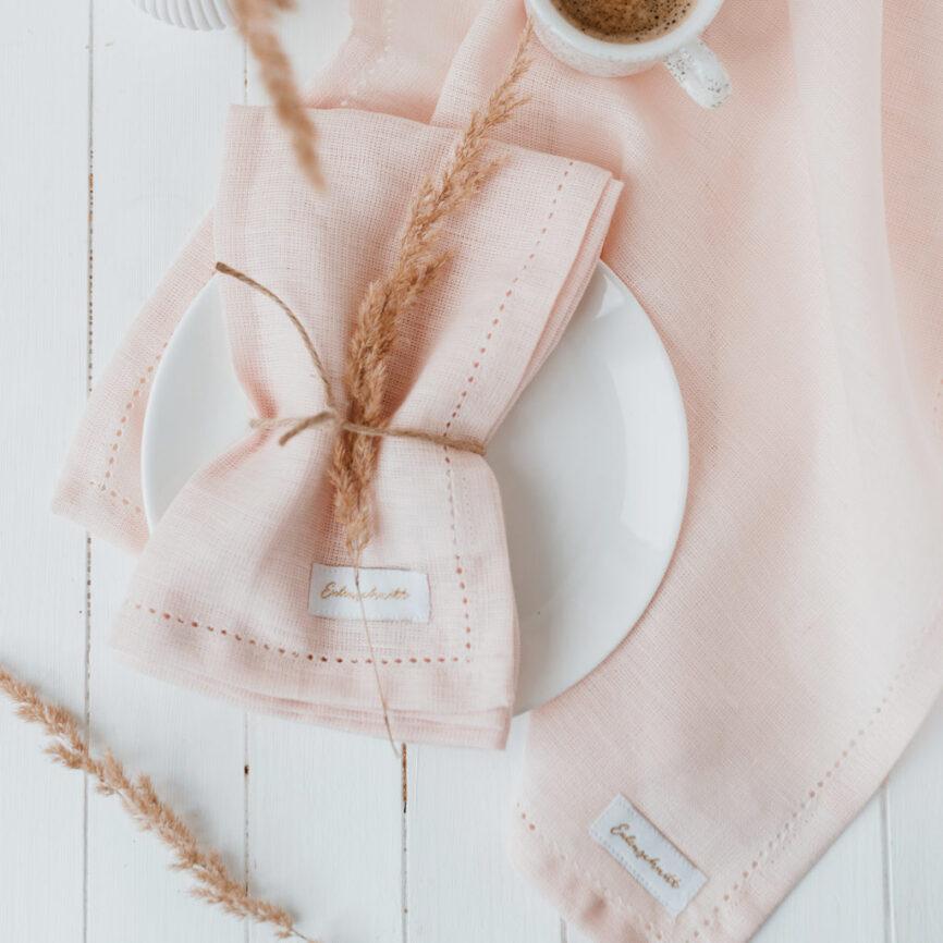 Eulenschnitt Leinen Servietten rosa