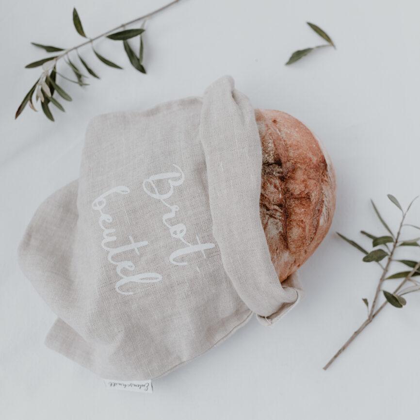 Eulenschnitt Brotbeutel aus leinen