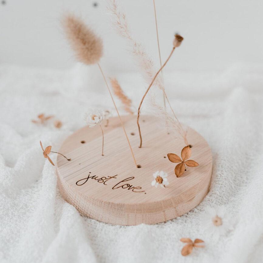 Eulenschnitt Blumenständer just love