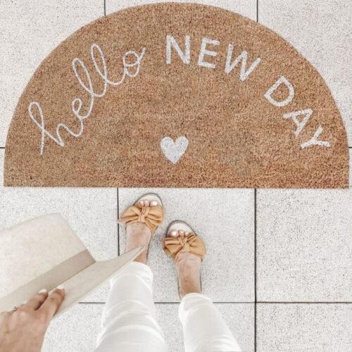 """Eulenschnitt Fußmatte """"Hello New day"""""""