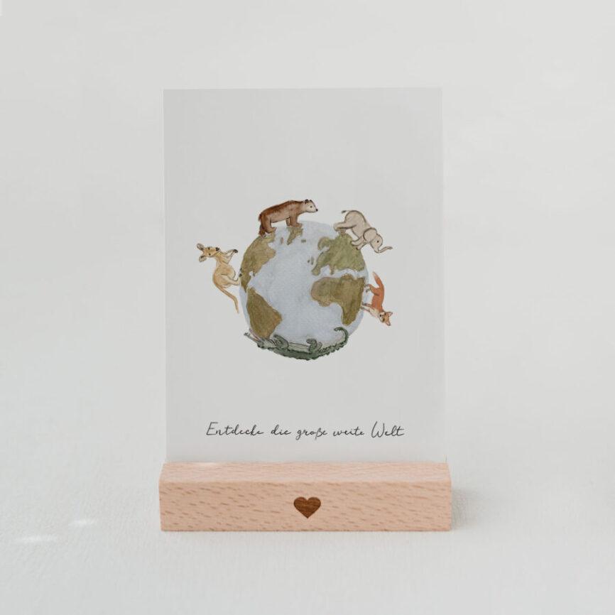 Eulenschnitt Postkarte Welt