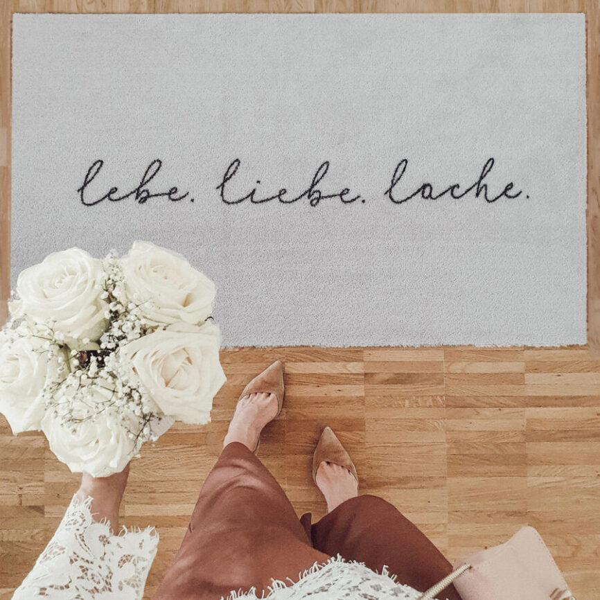 Eulenschnitt Fußmatte lebe liebe lache