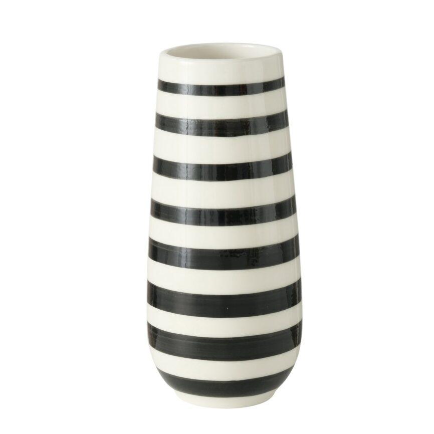 Nordic Vase mit Streifen Schwarz/weiß