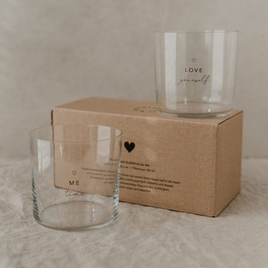 Eulenschnitt Trinkglas Selflove schwarz