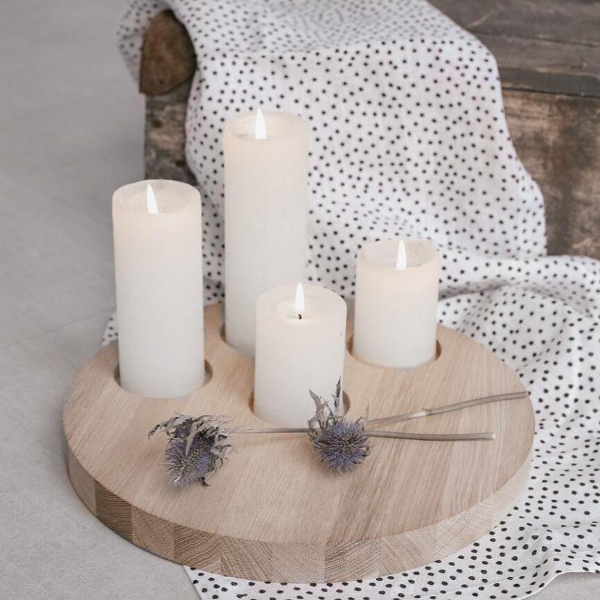 Eulenschnitt Kerzenbrett aus eichenholz 4 kerzen