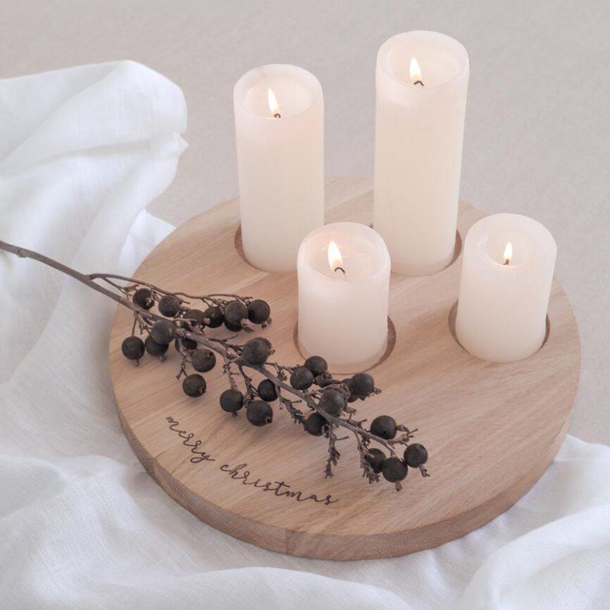 Eulenschnitt Kerzenbrett Merry Christmas